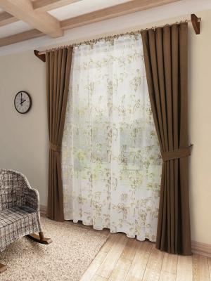 Комплект штор с тюлем SANPA HOME COLLECTION. Цвет: коричневый