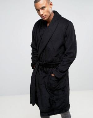 ASOS Флисовый халат с шалевым воротником. Цвет: черный
