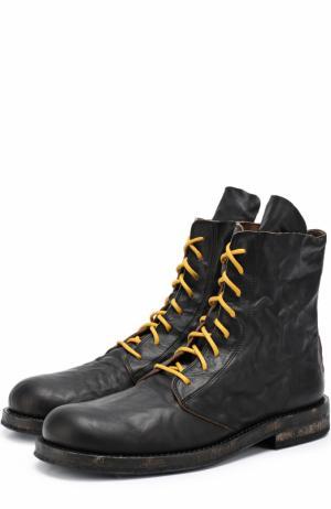 Кожаные ботинки с потертостями Ann Demeulemeester. Цвет: черный