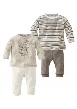 Комплект, 4 части: 2 кофточки и брюк KLITZEKLEIN. Цвет: в полоску/коричневый+бежевый/телесный