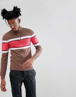 ASOS Коричневая облегающая спортивная куртка из трикотажа. Цвет: коричневый