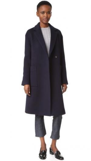 Шерстяное пальто JENNY PARK. Цвет: темно-синий