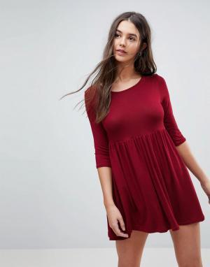 Lasula Свободное платье-футболка. Цвет: красный
