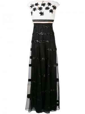 Вечернее платье с цветочными элементами Talbot Runhof. Цвет: чёрный