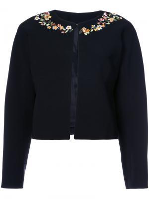 Укороченный пиджак с цветочным украшением Altuzarra. Цвет: чёрный