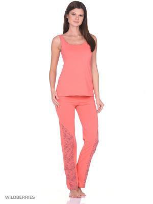 Комплект домашней одежды ( халат, майка, брюки) HomeLike. Цвет: коралловый