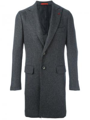 Однобортное пальто Isaia. Цвет: серый