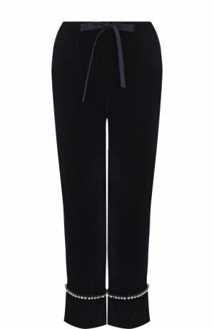 Укороченные бархатные брюки с отворотами Gucci. Цвет: темно-синий