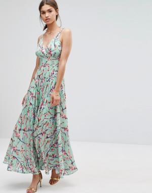 Darling Платье макси с цветочным принтом. Цвет: синий