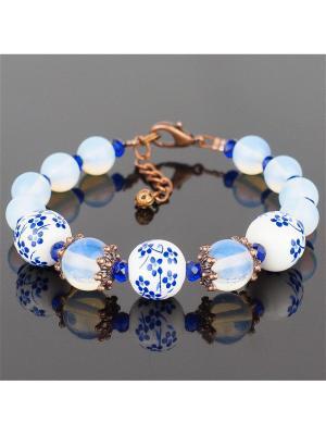 Браслет Винтаж лунный камень, керамика Револю. Цвет: голубой