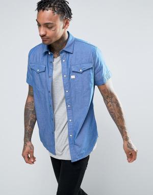 G-Star Рубашка с короткими рукавами Tacoma. Цвет: синий