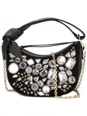 Декорированная мини-сумка на плечо Borbonese. Цвет: чёрный