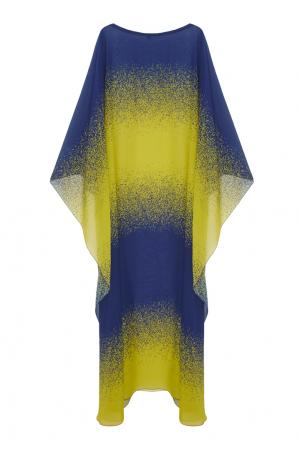 Шелковое платье Viva Vox. Цвет: синий, желтый