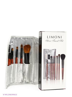 Набор кистей SILVER TRAVEL KIT Limoni. Цвет: серебристый