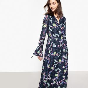 Платье длинное с цветочным принтом, c длинными рукавами La Redoute Collections. Цвет: рисунок/фон темно-синий