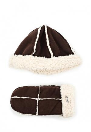 Комплект шапка и варежки Regatta. Цвет: коричневый