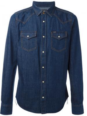 Джинсовая рубашка в стиле вестерн Diesel. Цвет: синий