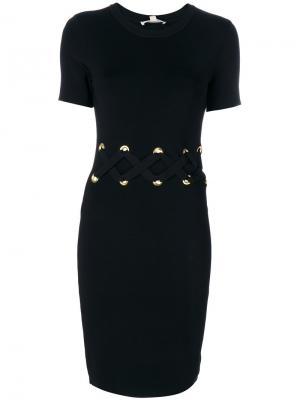Платье со шнуровкой на поясе Michael Kors. Цвет: чёрный