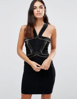 Forever Unique Бандажное платье с декоративной отделкой на бретельках. Цвет: черный