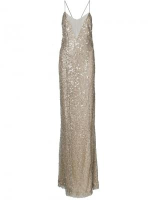 Платье с открытой спиной Galvan. Цвет: серый