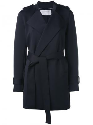 Пальто с поясом Harris Wharf London. Цвет: синий