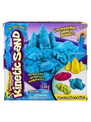 Кинетический песок для лепки, лоток, 4 формочки.  454 грамма, цвет голубой SPIN MASTER. Цвет: голубой