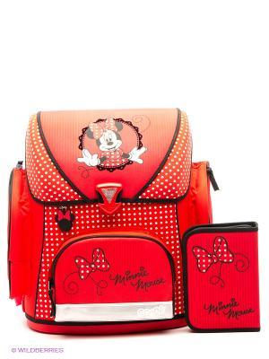 Ранец Minnie Mouse с подарком внутри Scooli. Цвет: красный