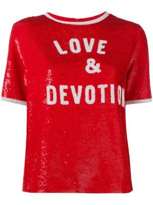 Футболка с пайетками Love & Devotion Ashish. Цвет: красный