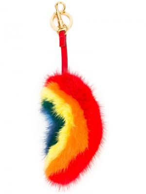 Радужный брелок из меха норки Anya Hindmarch. Цвет: многоцветный