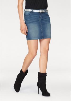 Джинсовая юбка MELROSE. Цвет: синий потертый