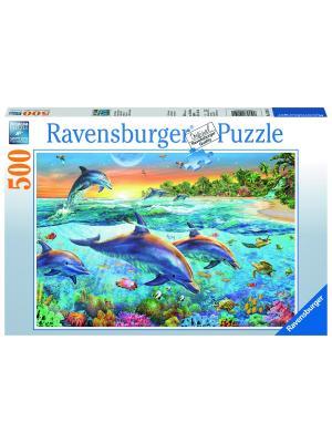 Пазл Бухта дельфинов 500 шт Ravensburger. Цвет: синий