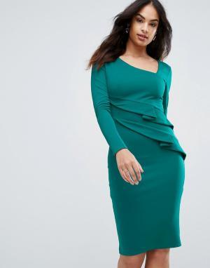 City Goddess Платье-футляр с длинными рукавами и оборками. Цвет: зеленый