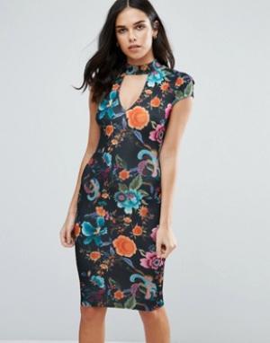 Jessica Wright Платье миди с горловиной-чокер и принтом. Цвет: черный