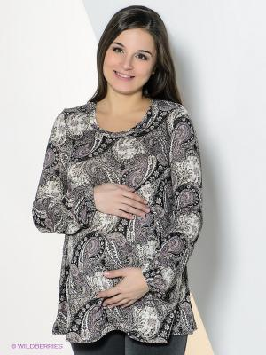 Блузка для беременных 40 недель. Цвет: серый, черный