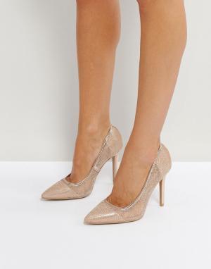 QUPID Туфли на высоком каблуке с острым носком и сетчатой отделкой. Цвет: медный