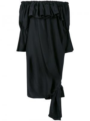 Плиссированная блузка с открытыми плечами Faith Connexion. Цвет: чёрный