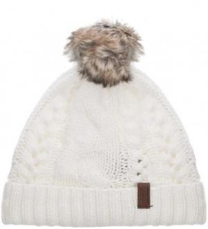 Белая шапка с помпоном Superdry. Цвет: белый