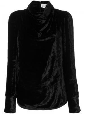 Драпированная блузка с высокой горловиной Maison Margiela. Цвет: чёрный