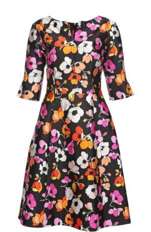 Приталенное шелковое платье с укороченным рукавом и цветочным принтом Oscar de la Renta. Цвет: разноцветный