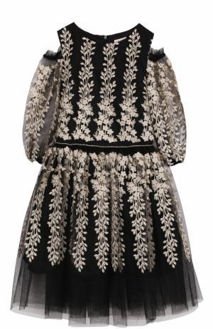 Платье-миди с вышивкой и открытыми плечами David Charles. Цвет: черный