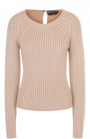 Пуловер фактурной вязки с круглым вырезом Rochas. Цвет: бежевый