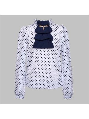 Блузка для девочки 7 одежек. Цвет: темно-синий, белый