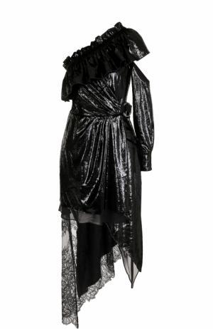 Приталенное платье асимметричного кроя с открытым плечом self-portrait. Цвет: черный