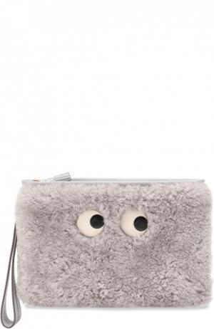 Кометичка Eyes с отделкой мехом Anya Hindmarch. Цвет: светло-серый