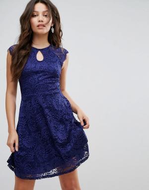 Lipsy Темно-синее приталенное платье из кружева. Цвет: темно-синий