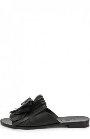 Кожаные сабо Dodo с бахромой Aleksandersiradekian. Цвет: черный