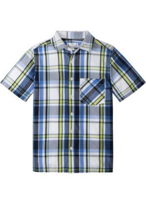 Рубашка с коротким рукавом и принтом (темно-синий/зеленый в клетку) bonprix. Цвет: темно-синий/зеленый в клетку