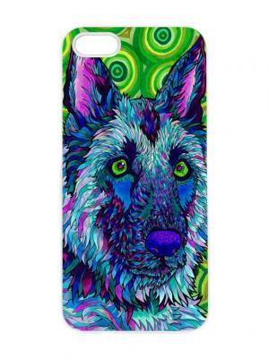 Чехол для iPhone 5/5s Синий волк Арт. IP5-295 Chocopony. Цвет: темно-синий, темно-зеленый, голубой