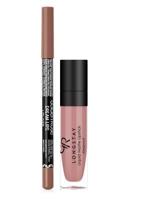 Помада LONGSTAY LIQUID MATTE тон 01 с карандашом для губ Golden Rose... Цвет: бежевый, розовый