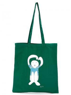 Сумка-тоут с принтом-логотипом Société Anonyme. Цвет: зелёный